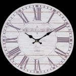Cream & Grey Cafe De La Tour Shabby Chic Style Round Wooden MDF 34cm Wall Clock